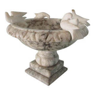 Alabaster Bird Bath With Doves For Sale