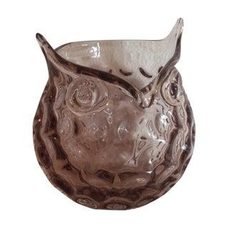 Murano Cristalleria d'Arte Owl Bowl in Amethyst