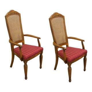 Stanley Furniture Italian Provincial Cane Back Arm Chairs - a Pair For Sale