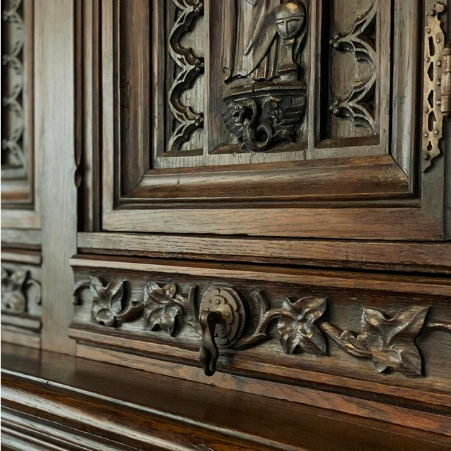19th Century French Gothic Buffet a Deux Corps ~ Cabinet For Sale - Image 12 of 13