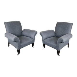 Pair of Modernist Arm Chairs with Scroll Arms in Grey Flannel Upholstery For Sale