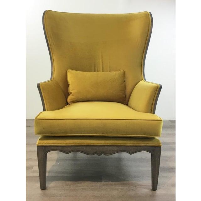 Stylish Modern Chartreuse Velvet Wingback Chair, gray finishe wood frame, showroom floor sample