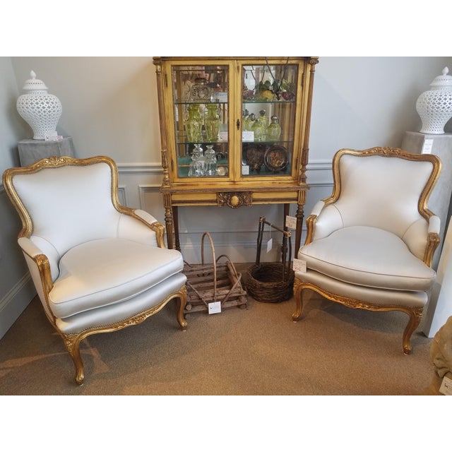 1960s 1960s Louis XV Gilt Wood and Fortuny Silver Silk Blend Upholstered Bergere Chairs - a Pair For Sale - Image 5 of 12