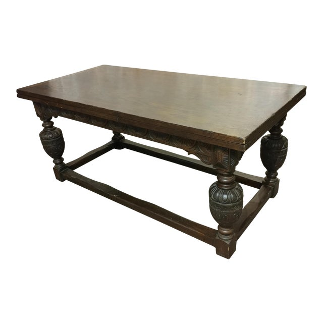 18th Century English Oak Jacobean Style Draw Leaf Refectory Table Size For Sale