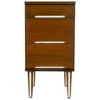 Walnut and White Micarta Three-Drawer Nightstand For Sale