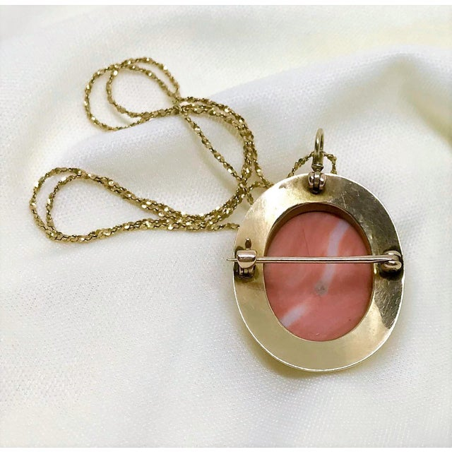 Metal 14k Gold & Coral Cameo Brooch/Necklace For Sale - Image 7 of 9