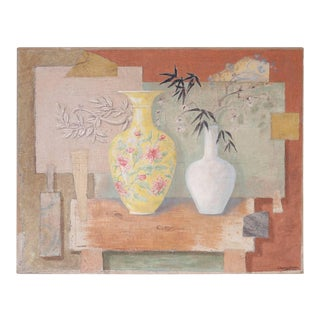 Still Life Oil Painting on Burlap For Sale
