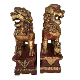 Vintage Mid-Century Chinese Red Gold Foo Dogs - A Pair