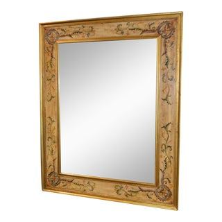 Venetian Style Oversized Hand Painted Distressed Crackle Finish Wall Mirror For Sale