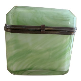 Antique French Green Opaline Glass and Brass Mounted Casket Box For Sale