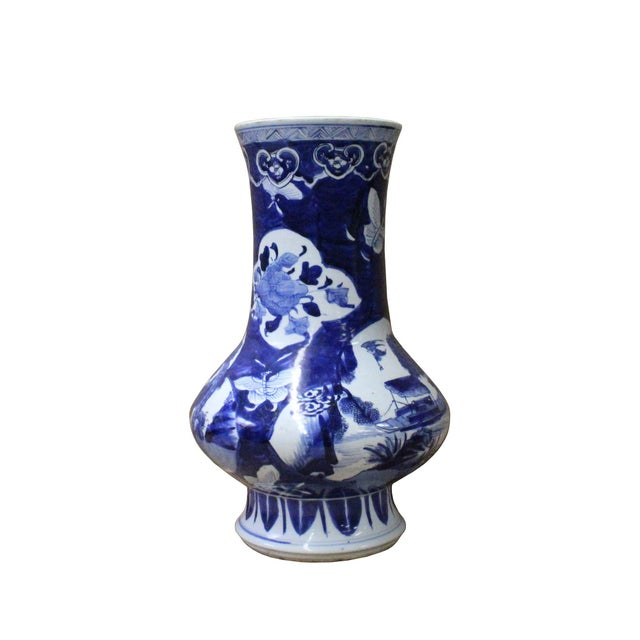 Arts & Crafts Chinese Blue White Porcelain Scenery Flower Graphic Slim Body Vase For Sale - Image 3 of 7