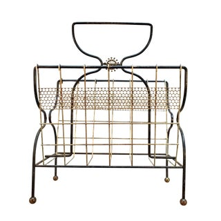 Mid-Century Modern Black & Gold Magazine Rack For Sale