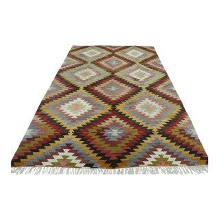 """Turkish Antalya Wool Rug Kilim Rug-6'4'x9'8"""" For Sale"""