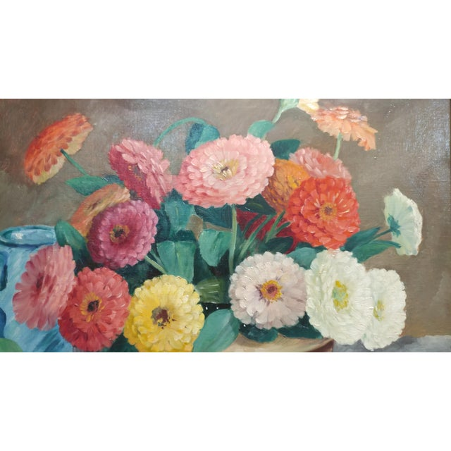 Realism Frode Dann Still Life of Dahlias Oil Painting, 1942 For Sale - Image 3 of 10