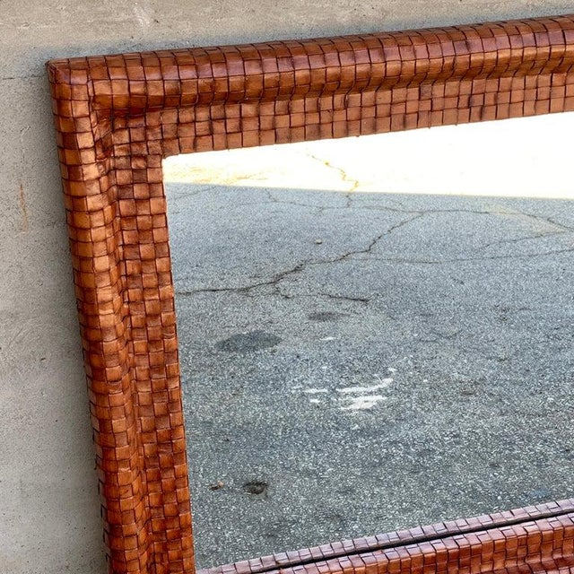 """French modern woven leather mirror, of square from with continuous woven leather staps surrounding a 24"""" inast square..."""