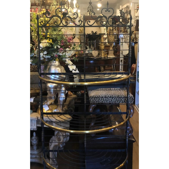 1970s Vintage Petit French Iron and Bronze Demilune Baker's Rack For Sale - Image 5 of 6