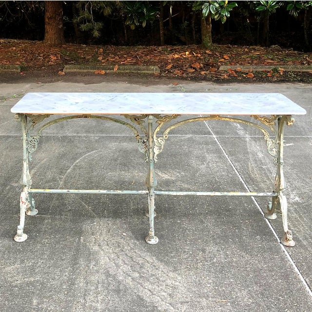 19th Century Cast Iron Marble Top Sofa Table ~ Confectioner's Table For Sale - Image 4 of 13