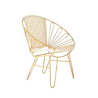 Distressed Metal Chair With Woven Cotton For Sale
