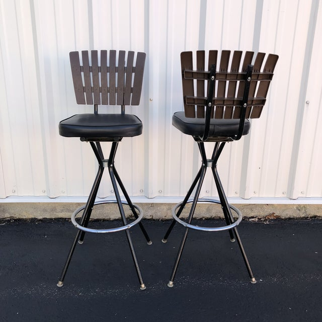 Metal Mid-Century Modern Swivel Bar Stools- A Pair For Sale - Image 7 of 11