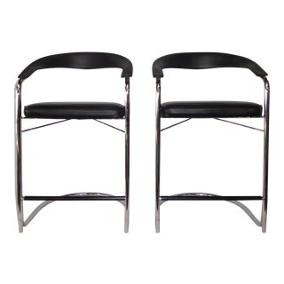 Mid-Century Modern Cantilever Chrome Bar Stools - a Pair For Sale