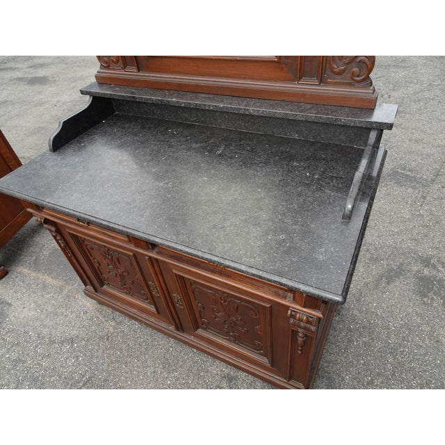 Antique Ornate French Victorian Renaissance Revival Dresser Credenza W Marble For Sale In Los Angeles - Image 6 of 12