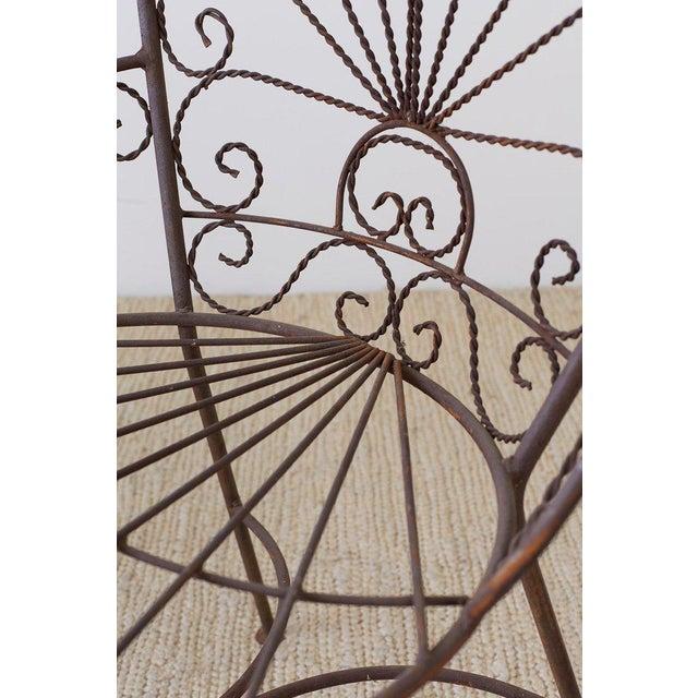 Salterini Salterini Style Iron Fan Back Garden Patio Chairs For Sale - Image 4 of 13