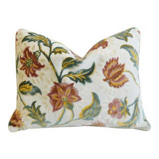 """French Floral Linen Velvet Feather/Down Pillow 24"""" X 18"""" For Sale"""