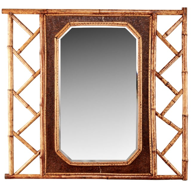 Vintage Wall Mirror With Bamboo and Leather Frame - Image 1 of 5