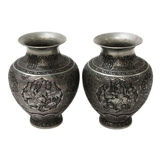 Persian Engraved Qalam Zani Vase - A Pair For Sale