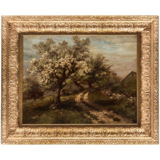 """Country Path with Blossoming Apple Trees"" Robert Melvin Decker Oil Painting For Sale"
