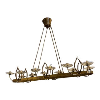 1950s Pietro Chiesa Style Mid-Century Modern Brass and Glass Italian Chandelier For Sale