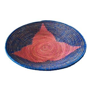 "Lg Handmade Woven Wolof Basket From Senegal 17.25"" in D For Sale"