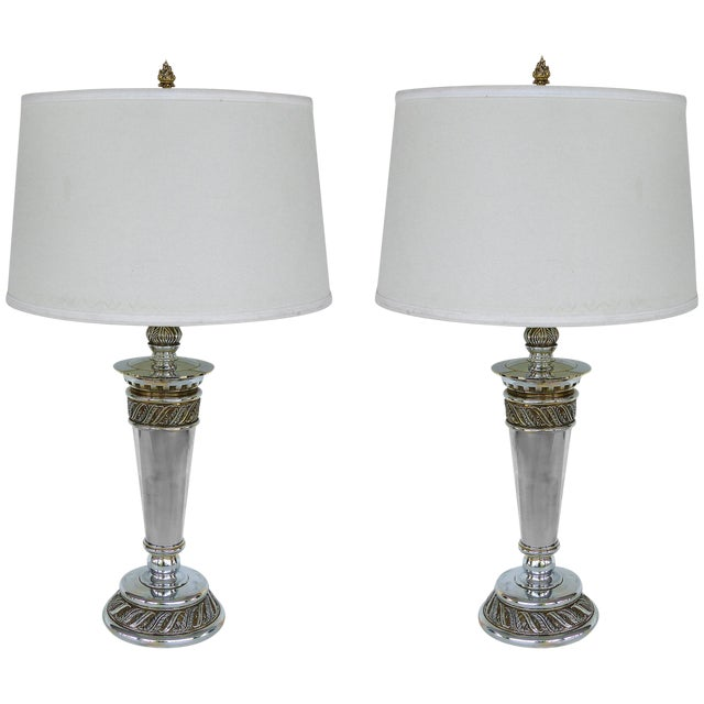 Stiffel Silvered Copper Torch Form Table Lamps - a Pair For Sale