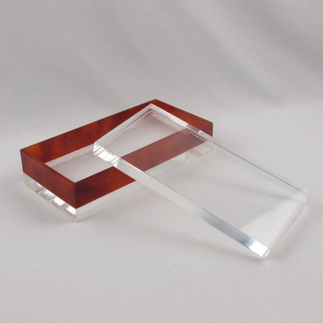 French Mid-Century Modern Rectangular Lucite Box - Image 2 of 8