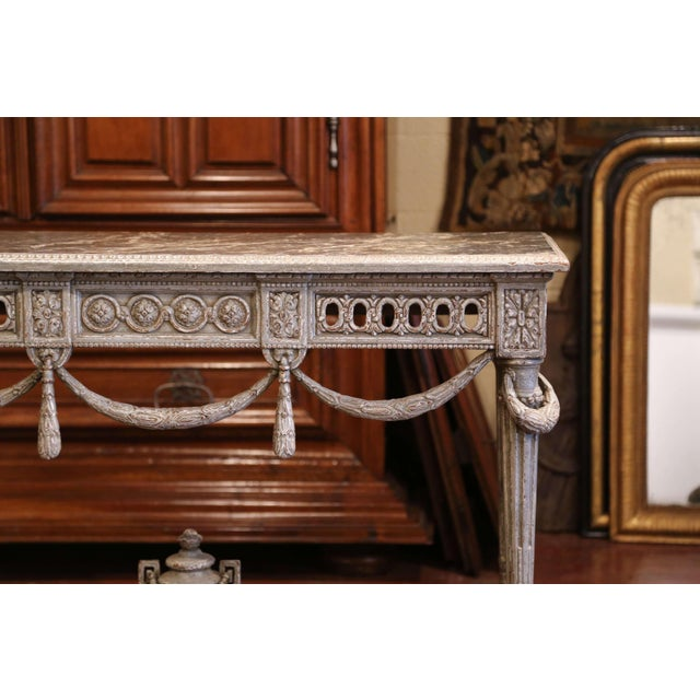 Pair of 19th Century French Carved Painted Consoles Tables With Faux Marble Top For Sale - Image 9 of 12