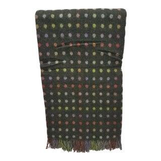 Merino Wool Throw Spot Dark Green - Made in England For Sale