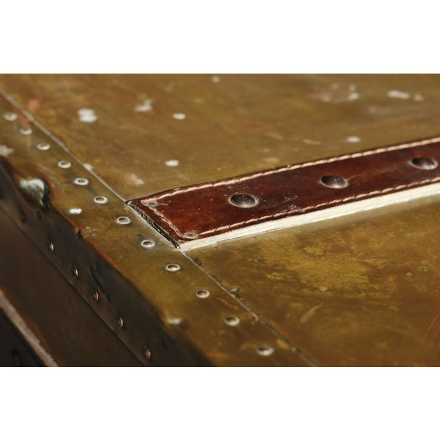 Animal Skin English Brass & Leather Campaign Style Coffee Table For Sale - Image 7 of 7