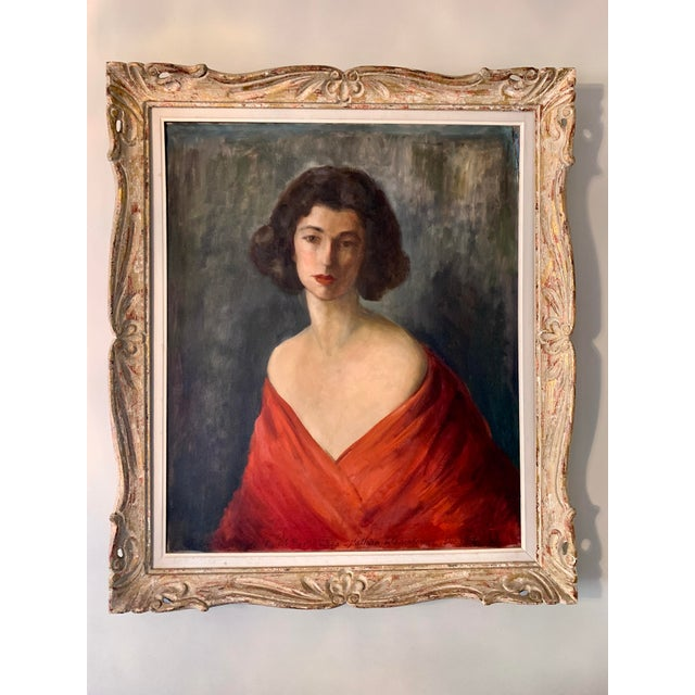 1950s Portrait of a Woman Oil Painting by Nathan Wasserberger, Framed For Sale - Image 9 of 9