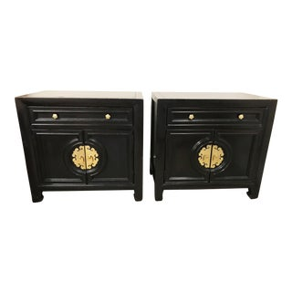 Vintage James Mont Style Century Furniture Black Wood Nightstands With Brass Hardware - Pair