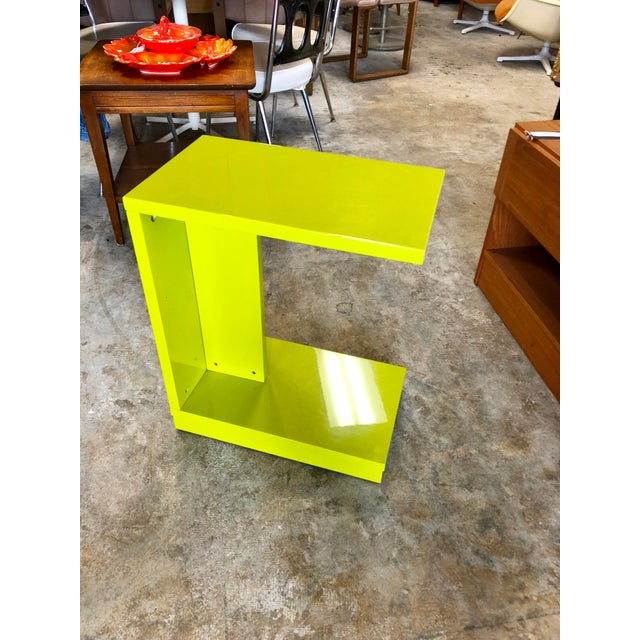 Modern Neon Green Rolling C Table For Sale - Image 9 of 9