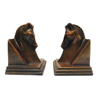 Art Deco Stylized Cast Bronze Sculptures of Horse Bust on Stand Bookends - a Pair For Sale