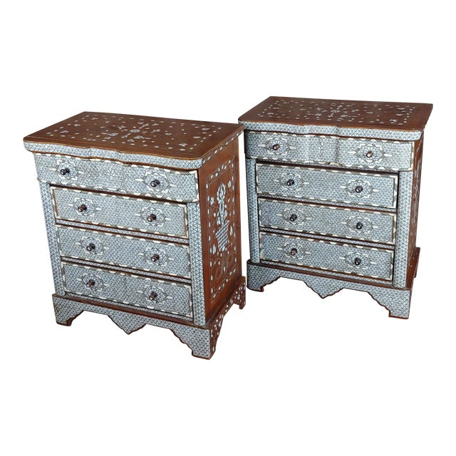 Syrian Beautiful Mother-Of-Pearl Inlay Chests Nightstands - A Pair For Sale