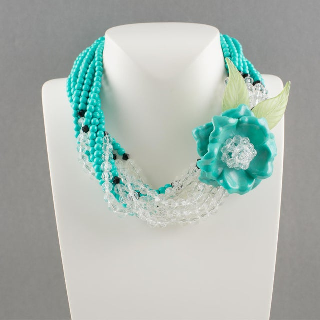 Contemporary Angela Caputi Turquoise and Black Resin Necklace with Oversized Flower For Sale - Image 3 of 13