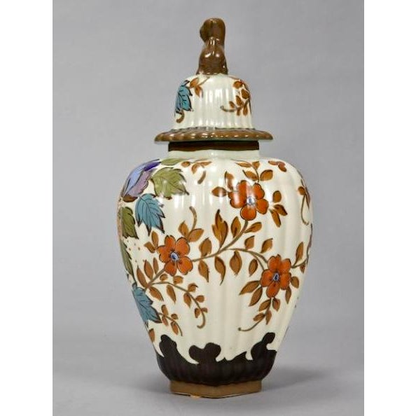 1940s Tall Floral Gouda Vase with Monkey Lid For Sale - Image 5 of 7