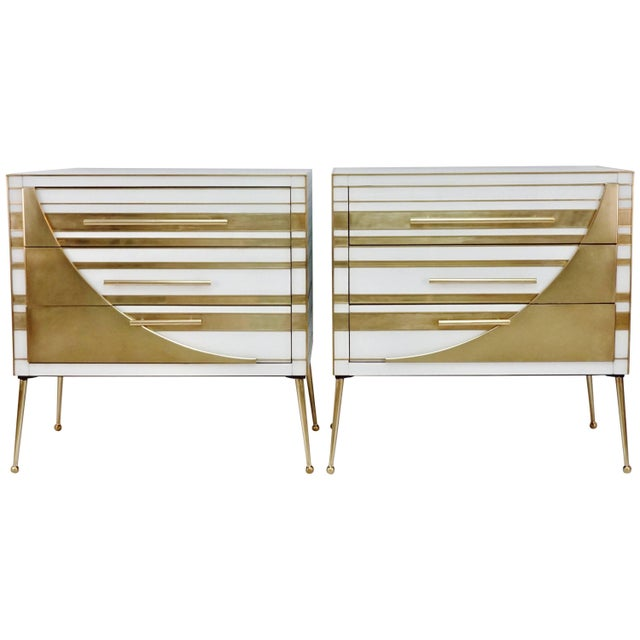 Contemporary Italian Gold Brass and White Cream Glass Chests Side Tables - a Pair For Sale - Image 9 of 9
