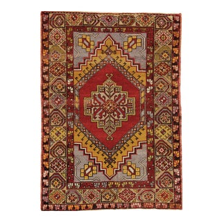 1940s Vintage Anatolian Mat - 3′5″ × 4′9″ For Sale