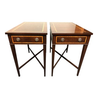 English Traditional Trosby Mahogany Side Tables - a Pair