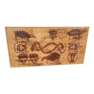 Vintage Tapa Cloth Hand Painted Tiki 1970's For Sale