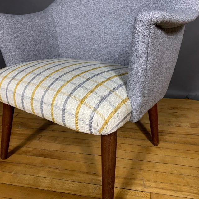 Gray Danish 1960 Armchair, New Mood Nyc Upholstery For Sale - Image 8 of 9