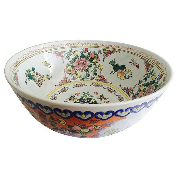 Large Chinese Botanical Bowl For Sale - Image 4 of 4